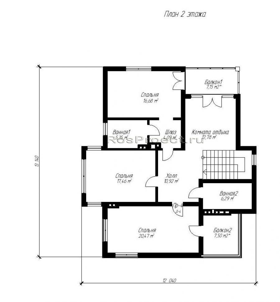 Двухэтажный дом с террасой и балконом rpg986 в жигулевске - .